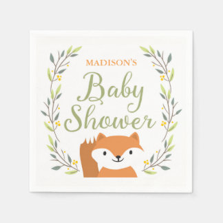 Woodland Fox Baby Shower Napkins Disposable Napkins