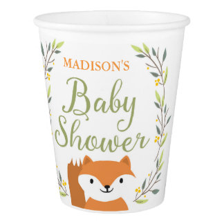 Woodland Fox Baby Shower Paper Cups