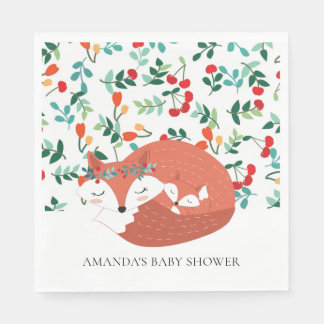Woodland Fox Baby Shower Paper Napkins Disposable Napkin