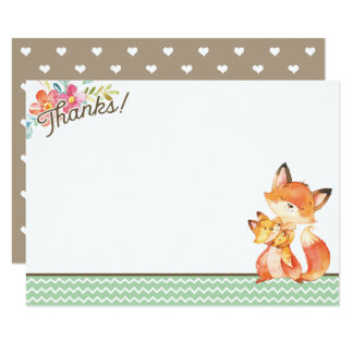 Woodland Fox Baby Shower Thank You Card
