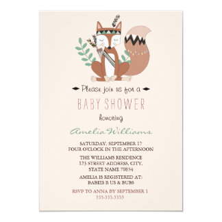 Woodland Fox Neutral Baby Shower Invitation