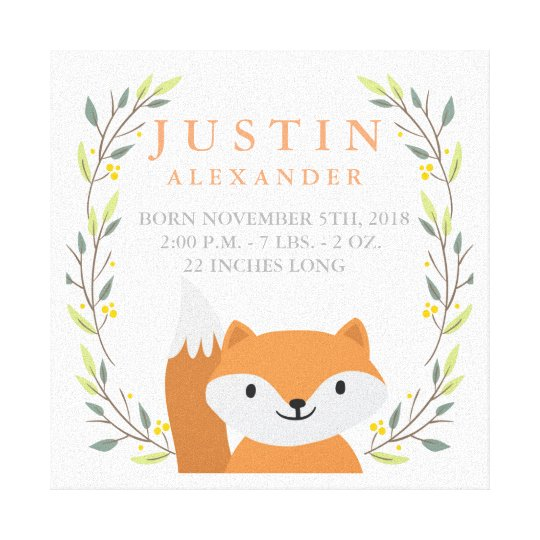 Woodland Fox Nursery Wrapped Canvas Print