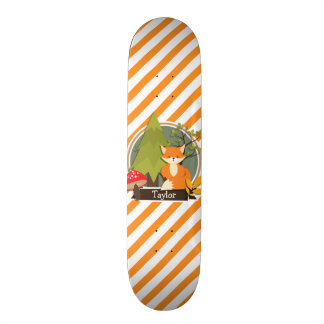 Woodland Fox; Orange and White Stripes Skate Board Deck