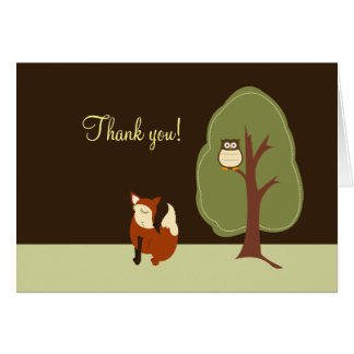 Woodland Fox & Owl Folded Thank you notes