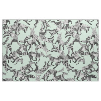 woodland fox party mint fabric