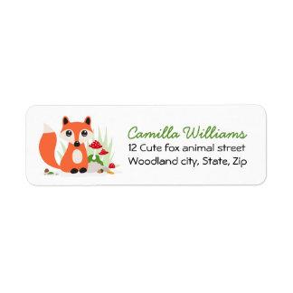 Woodland fox return address label