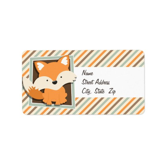 Woodland Fox; Sage Green, Orange, Brown Stripes Label
