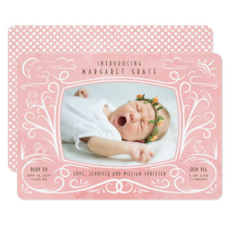 Woodland Friends Birth Announcement Girl