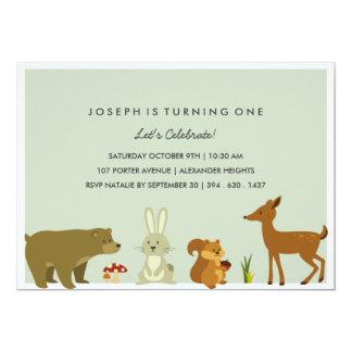 "Woodland Friends Birthday Invitation 5"" X 7"" Invitation Card"