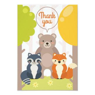 Woodland Friends Thank You Card 9 Cm X 13 Cm Invitation Card