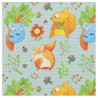 Woodland Fun aqua Fabric