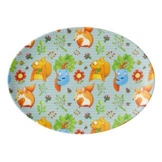 Woodland Fun aqua Porcelain Coupe Platter