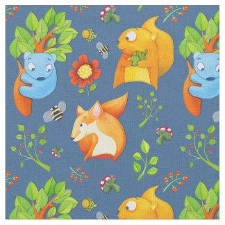 Woodland Fun blue Fabric