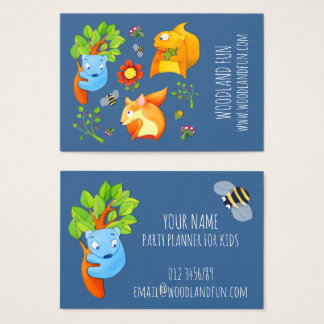 Woodland Fun blue Kids Party Planner Business Card