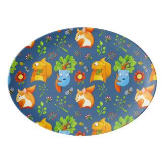 Woodland Fun blue Porcelain Coupe Platter