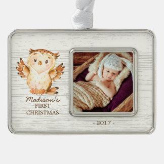 Woodland Girls Baby's 1st Christmas Photo Ornament
