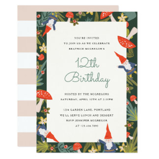 Woodland Gnomes Party Invite