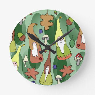 Woodland Gnomes Round Clock