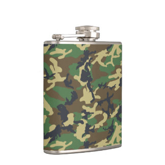 Woodland Green Camouflage pattern Hip Flask