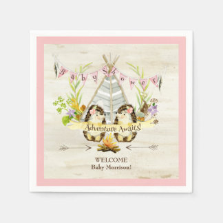 Woodland Hedgehogs Teepee Boho Baby Shower Pink Paper Napkins