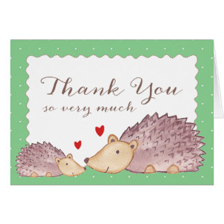 Woodland Hedgehogs Thank You Note Card