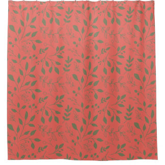 Woodland Leaves Pattern Shower Curtain