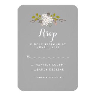 Woodland Love Floral Wedding RSVP Response 9 Cm X 13 Cm Invitation Card