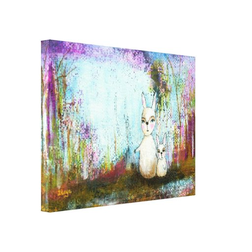 Woodland Mama Rabbit Baby Rabbit Whimsical Art Stretched Canvas Print