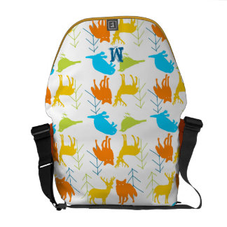 Woodland Modern Fox Birds Pine Tree Messenger Bags