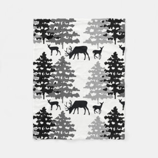 Woodland Mountain Forest Animals Rustic Deer Fawn Fleece Blanket