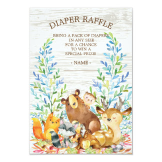 Woodland Neutral Baby Shower Diaper Raffle Ticket Card