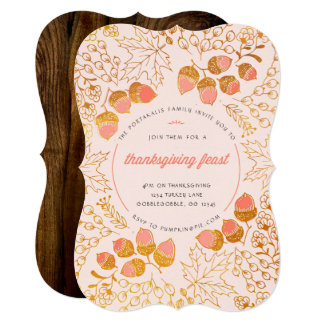 Woodland oak Thanksgiving Invitation