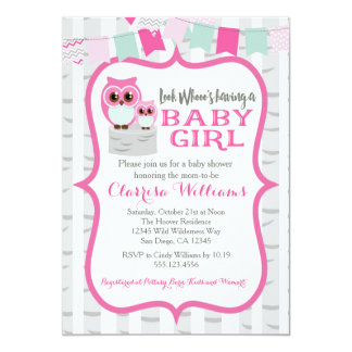 Woodland Owl Baby Girl Shower Invitation
