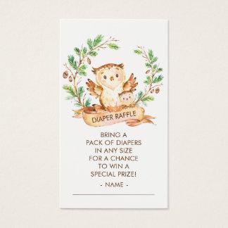 Woodland Owl Baby Shower Diaper Raffle Ticket