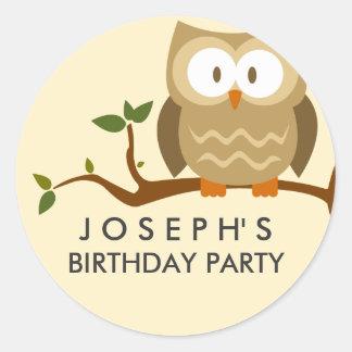 Woodland Owl Birthday Sticker