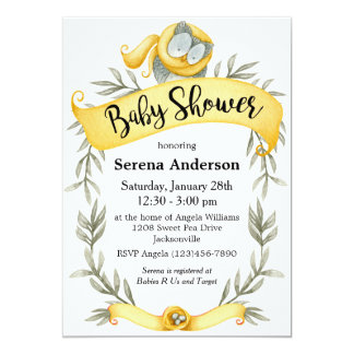 Woodland Owl in Yellow Scarf Baby Shower Card