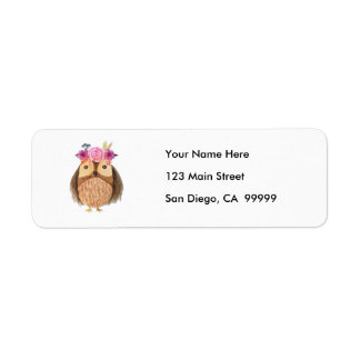 Woodland Owl with Flower Crown Return Address Label