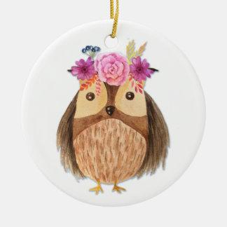 Woodland Owl with Flower Crown Round Ceramic Decoration