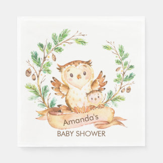 Woodland Owls  Baby Shower Paper Napkins Disposable Serviette