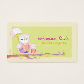 Woodland Owls Whimsical Daycare Business Cards