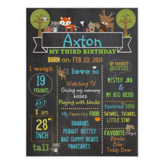 Woodland Party third birthday sign poster