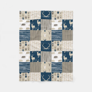 Woodland Patchwork Blanket in Tan and Navy Blue