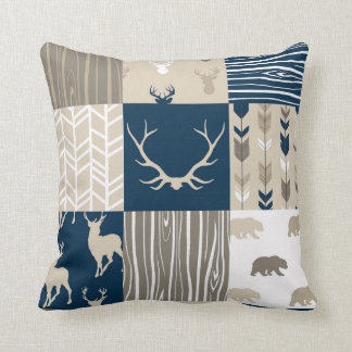 woodland Patchwork Pillow in Navy and Tan