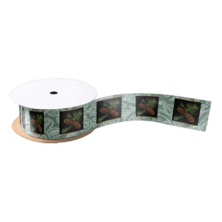 Woodland Pine Cone Watercolor on Soft Green Satin Ribbon