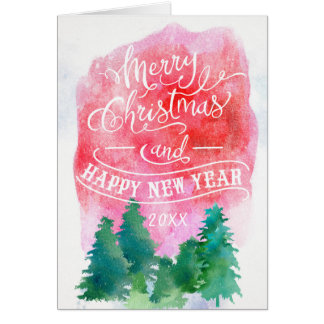Woodland Pine Trees|Christmas and Happy New Year Card