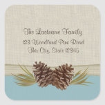 Woodland Pinecones Light Blue Square Stickers