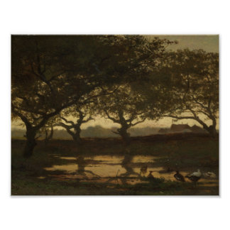 Woodland Pond at Sunset, Gerard Bilders, c. 1862 Poster