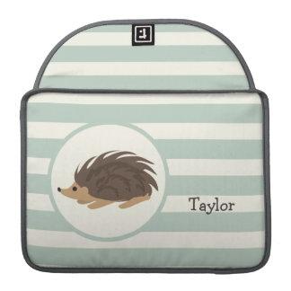 Woodland Porcupine, Hedgehog; Light Sage Green Sleeve For MacBook Pro