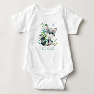 Woodland Raccoon Adorable Personalized Baby Bodysuit