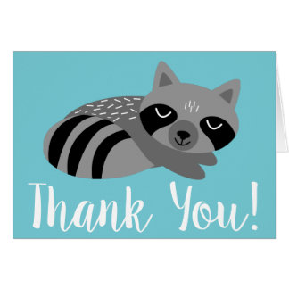 Woodland Raccoon & Birch Trees Thank You Card